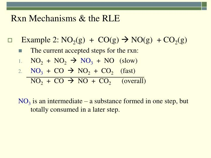 Rxn Mechanisms & the RLE