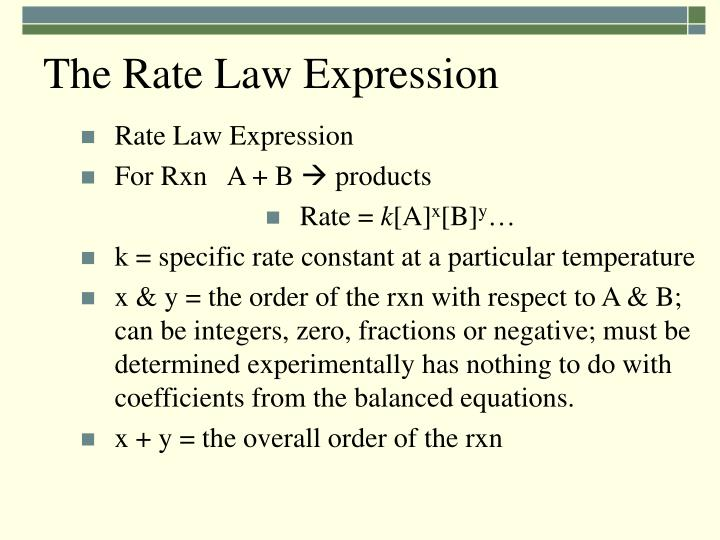 The Rate Law Expression