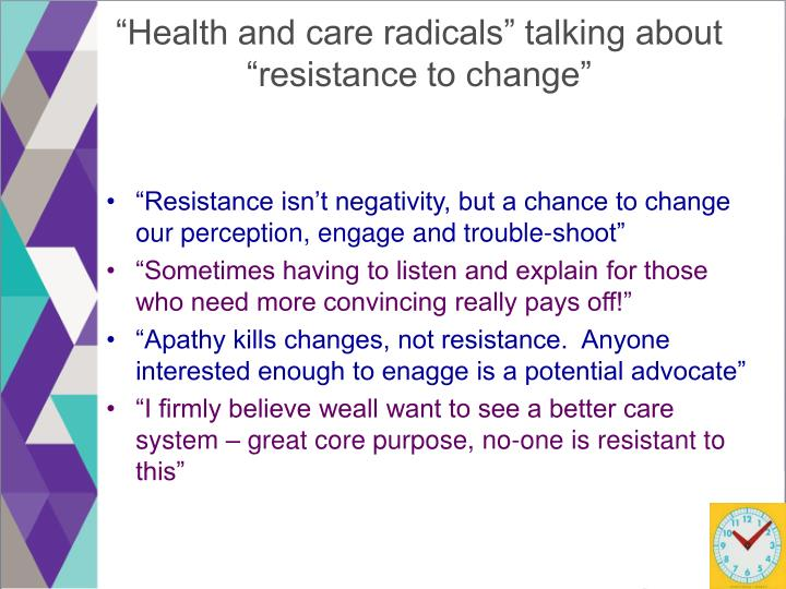 """""""Health and care radicals"""" talking about"""