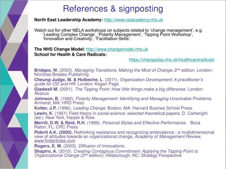 References & signposting