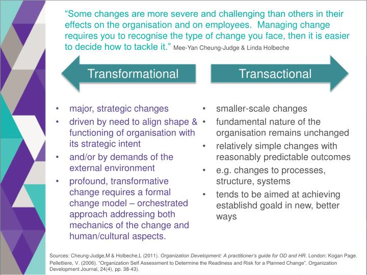 """""""Some changes are more severe and challenging than others in their effects on the organisation and on employees.  Managing change requires you to recognise the type of change you face, then it is easier to decide how to tackle it."""""""
