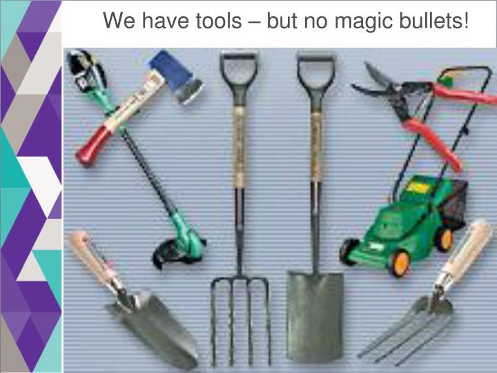 We have tools – but no magic bullets!