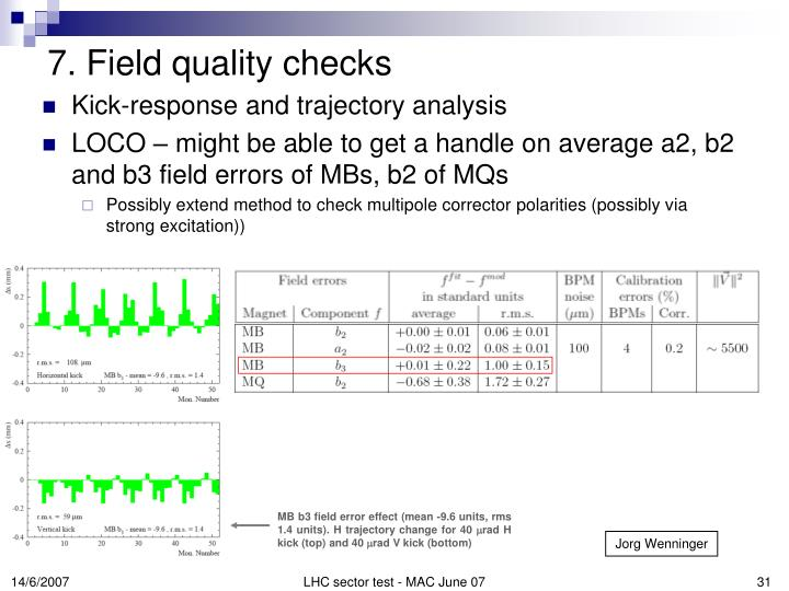 MB b3 field error effect (mean -9.6 units, rms 1.4 units). H trajectory change for 40
