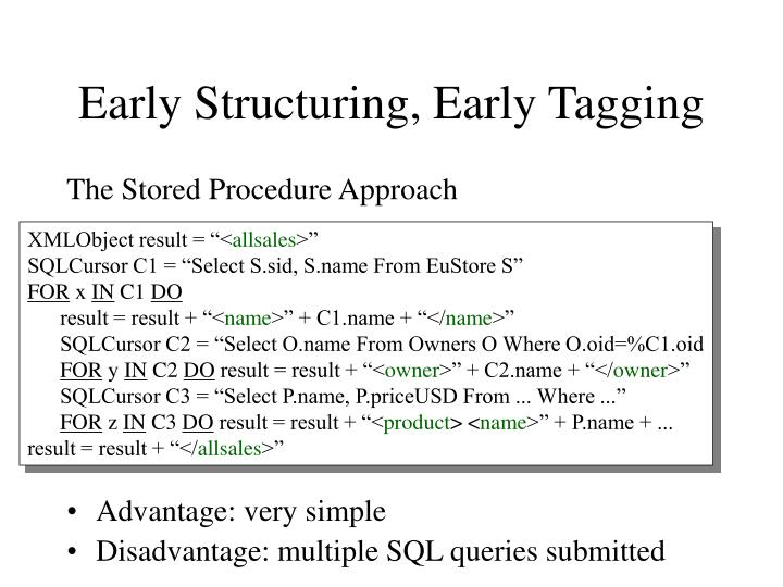 Early Structuring, Early Tagging