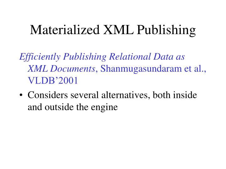 Materialized XML Publishing