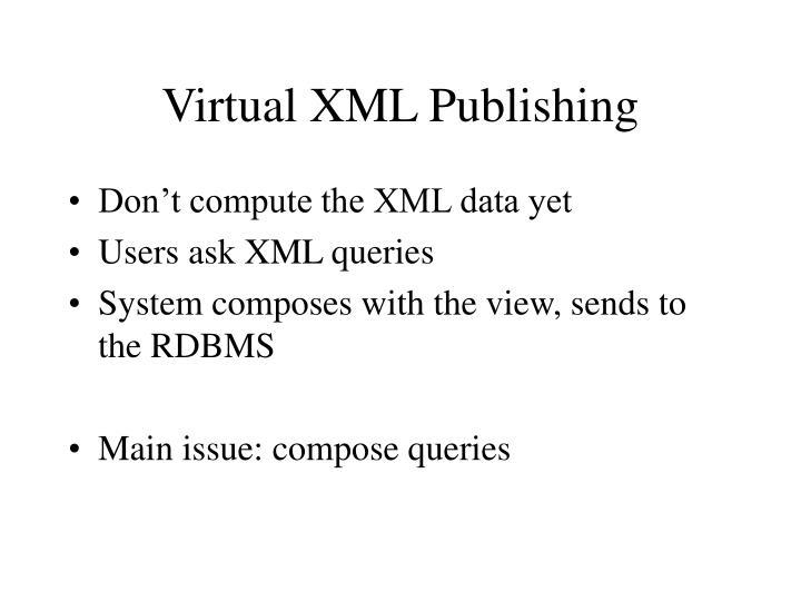 Virtual XML Publishing