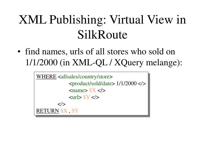 XML Publishing: Virtual View in SilkRoute