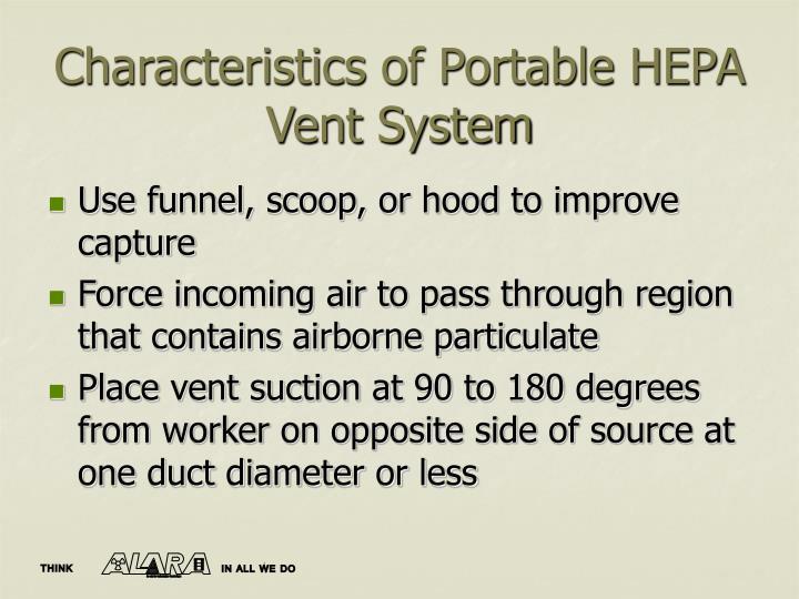 Characteristics of Portable HEPA Vent System