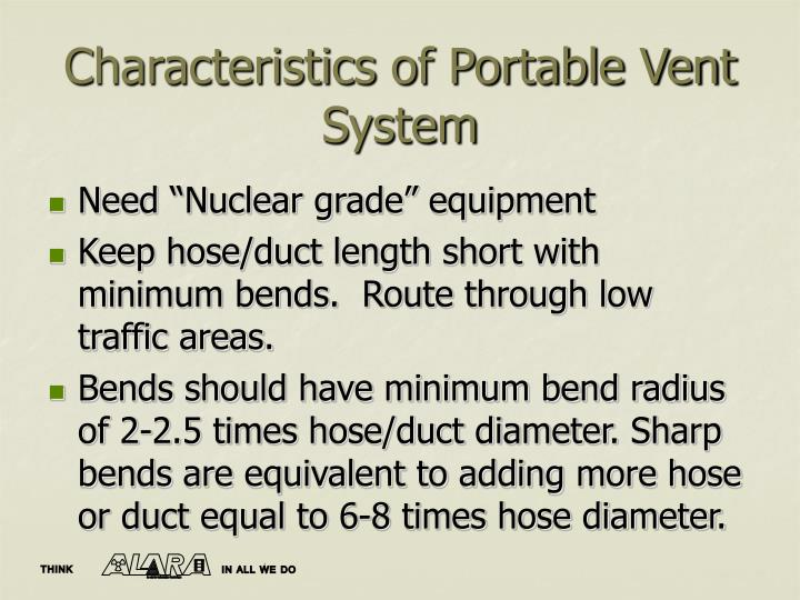Characteristics of Portable Vent System
