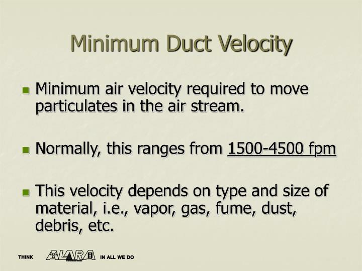 Minimum Duct Velocity
