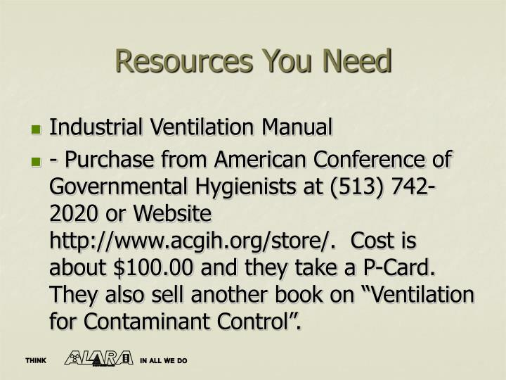 Resources You Need