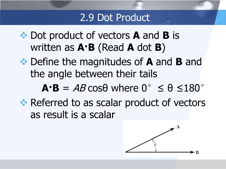 2.9 Dot Product
