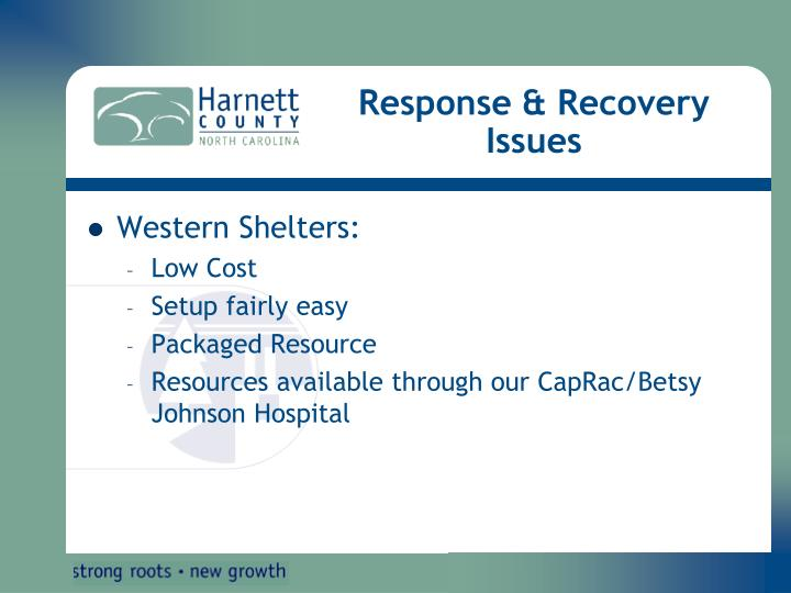 Response & Recovery Issues