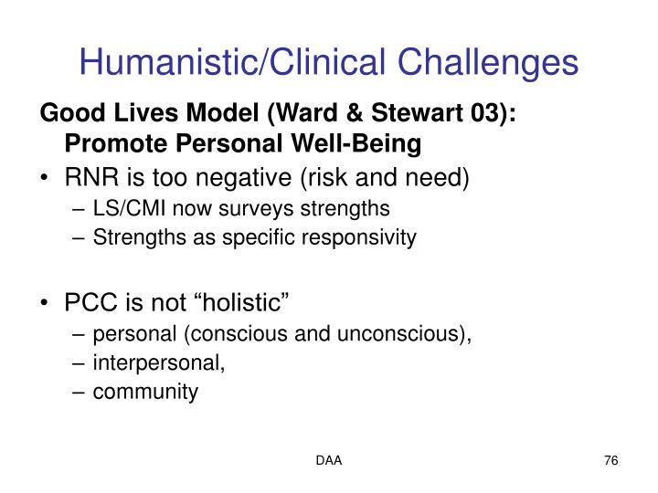 Humanistic/Clinical Challenges