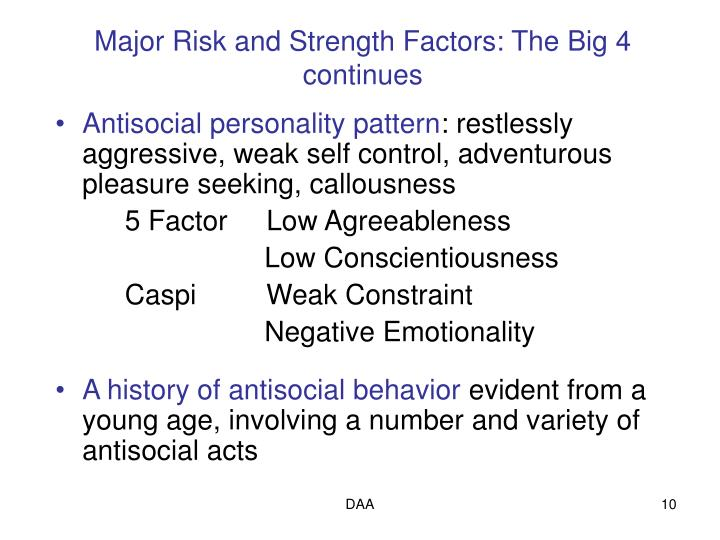 Major Risk and Strength Factors: The Big 4 continues