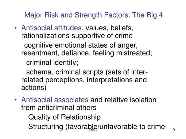Major Risk and Strength Factors: The Big 4