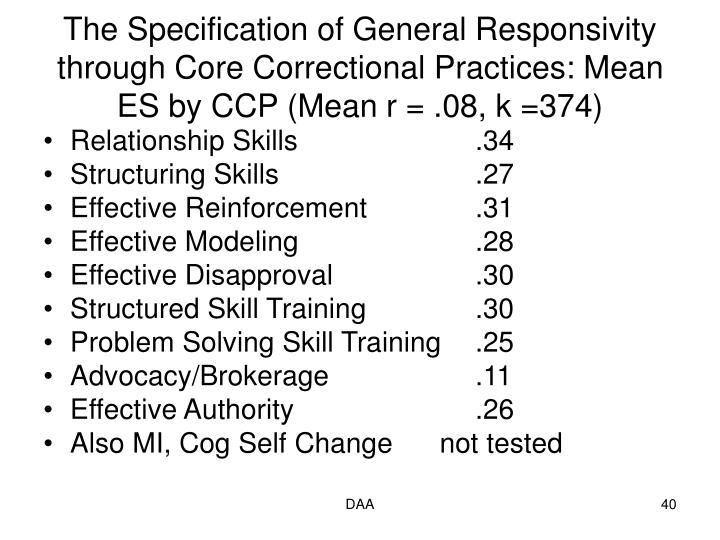 The Specification of General Responsivity through Core Correctional Practices: Mean ES by CCP (Mean r = .08, k =374)