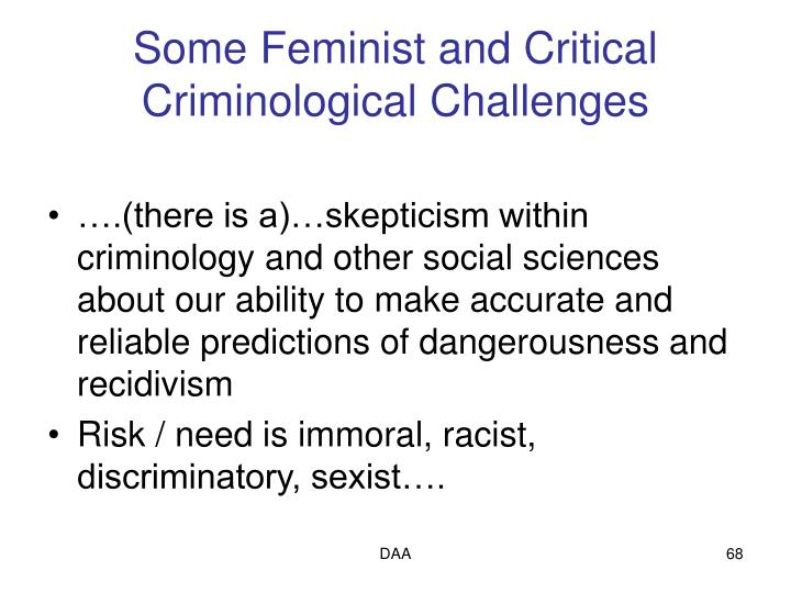 Some Feminist and Critical Criminological Challenges
