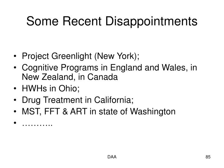 Some Recent Disappointments