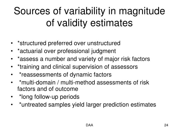 Sources of variability in magnitude of validity estimates