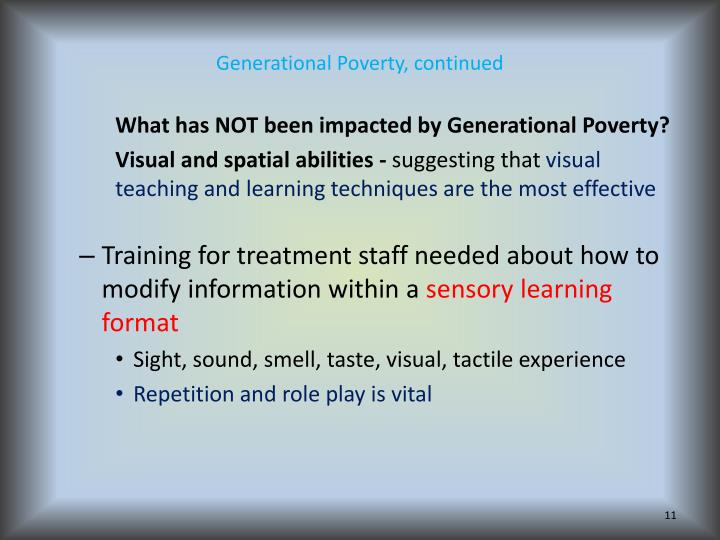 Generational Poverty, continued