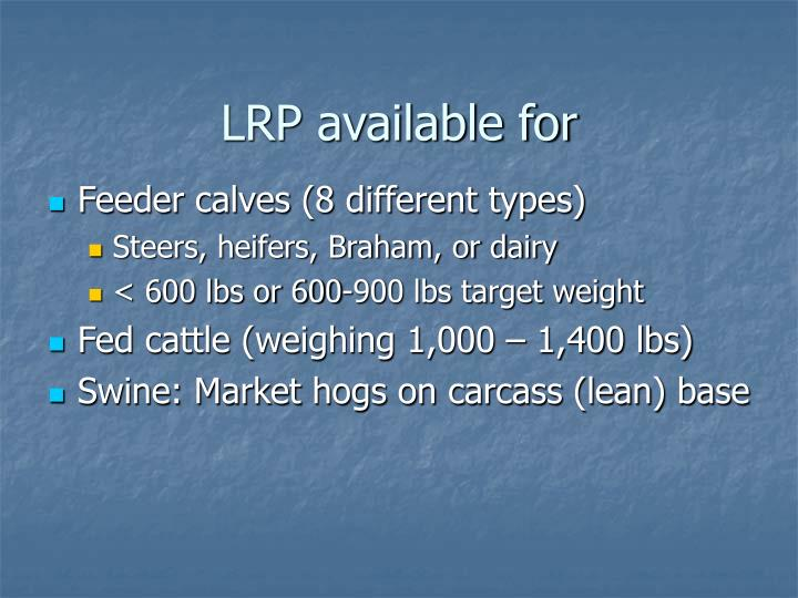 LRP available for