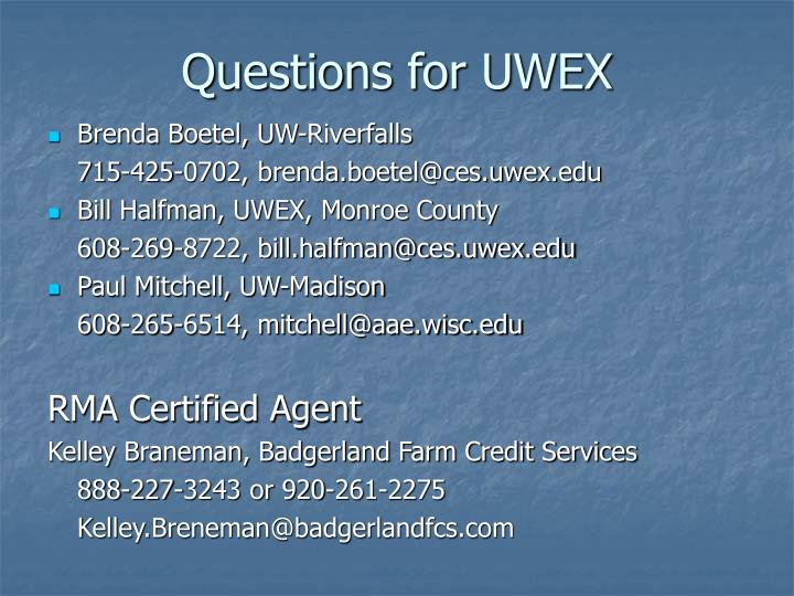 Questions for UWEX