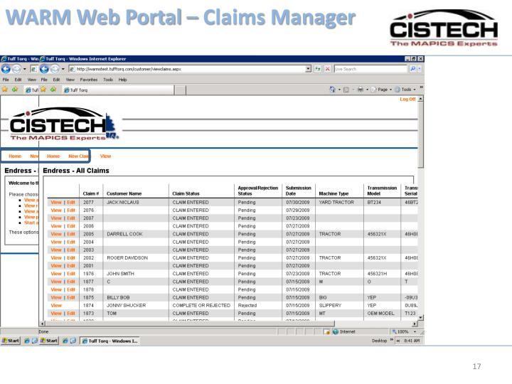WARM Web Portal – Claims Manager