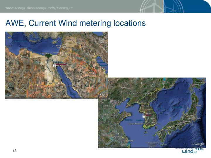 AWE, Current Wind metering locations