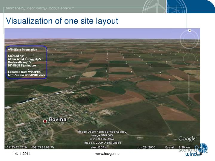 Visualization of one site layout