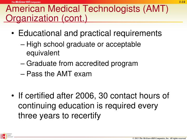 American Medical Technologists (AMT) Organization (cont.)