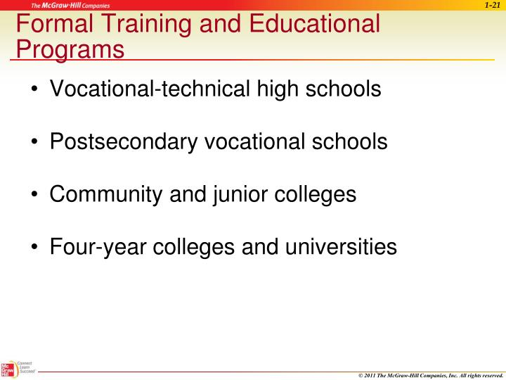 Formal Training and Educational Programs