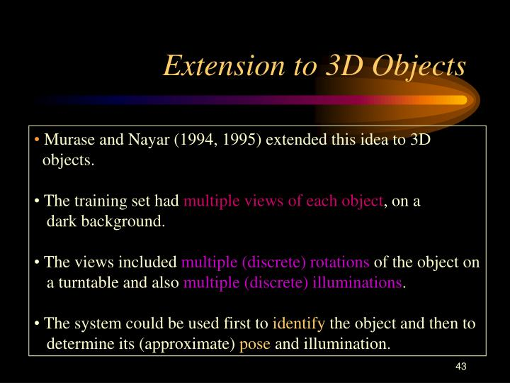 Extension to 3D Objects