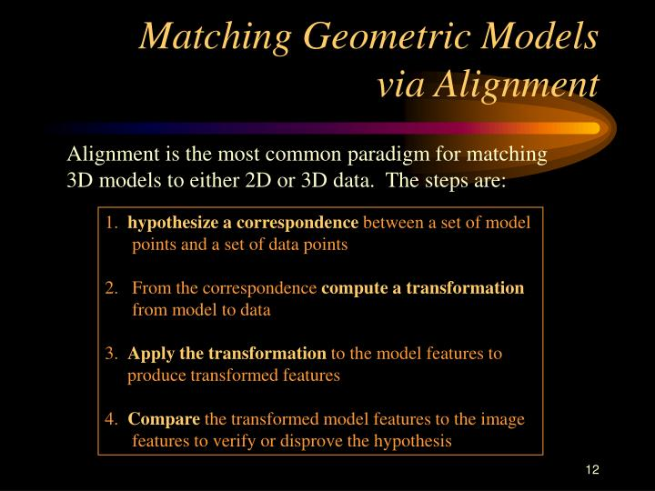 Matching Geometric Models