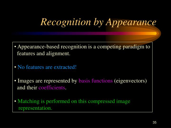 Recognition by Appearance