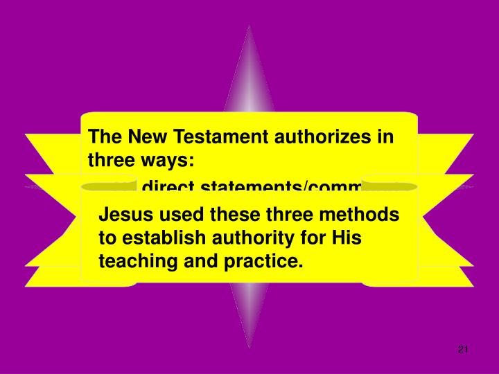 The New Testament authorizes in three ways: