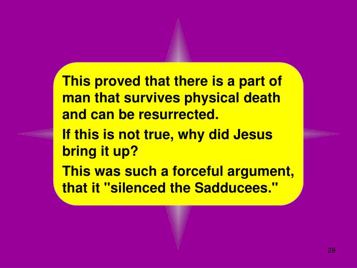 This proved that there is a part of man that survives physical death and can be resurrected.