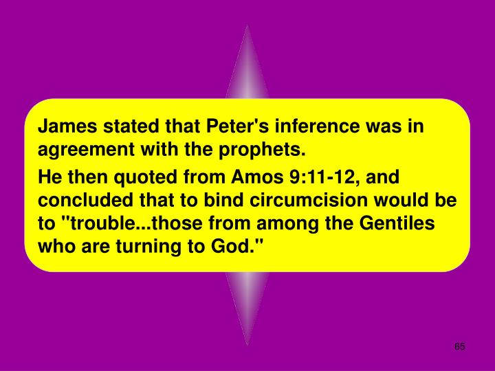 James stated that Peter's inference was in agreement with the prophets.