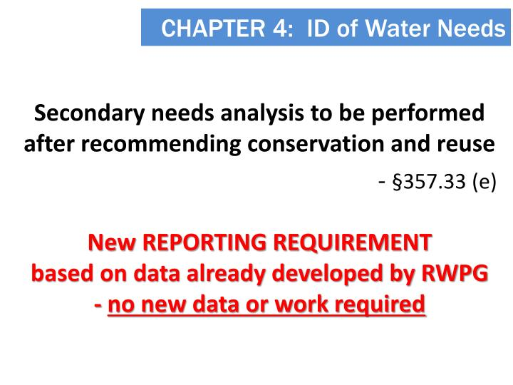 CHAPTER 4:  ID of Water Needs