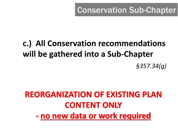 Conservation Sub-Chapter