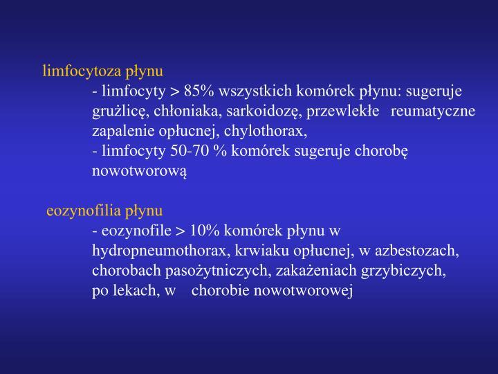 limfocytoza płynu