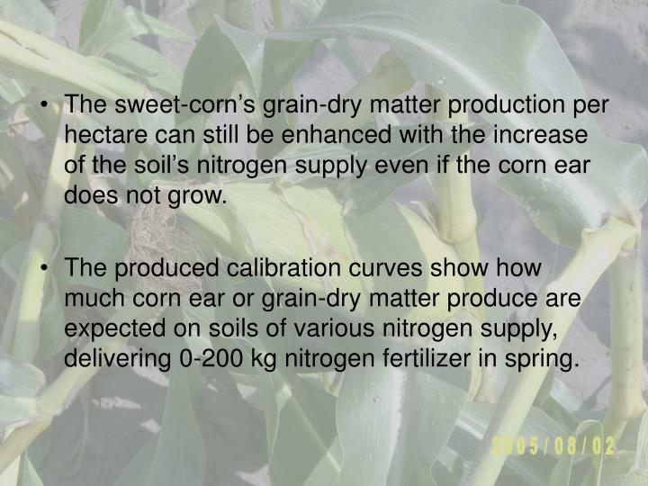 The sweet-corn's grain-dry matter production per hectare can still be enhanced with the increase of the soil's nitrogen supply even if the corn ear does not grow.