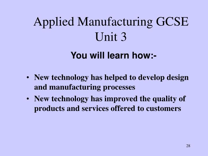Applied Manufacturing GCSE