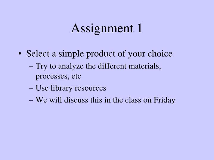 Assignment 1