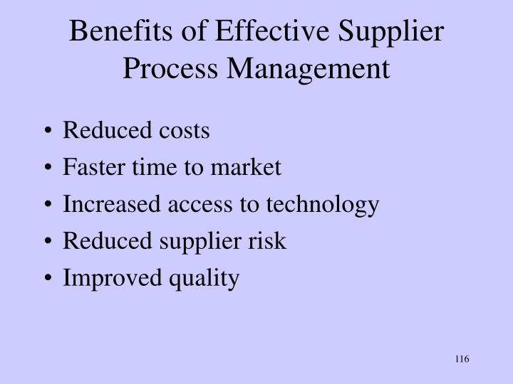 Benefits of Effective Supplier Process Management