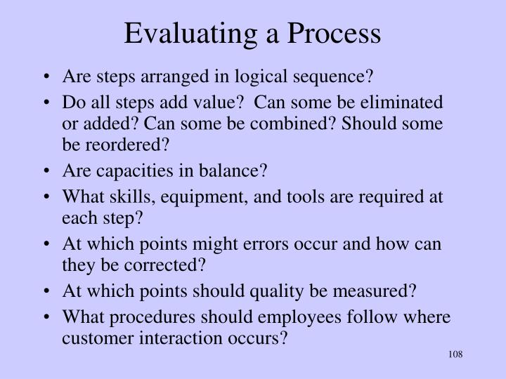 Evaluating a Process