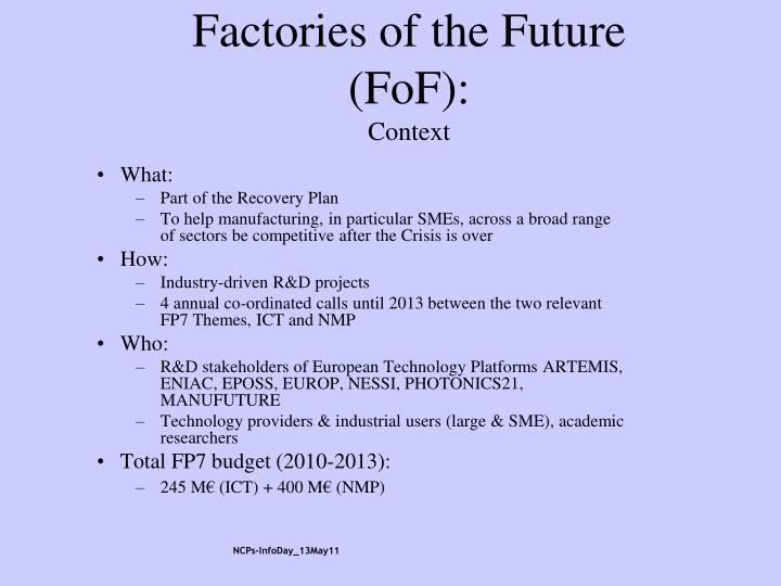 Factories of the Future (FoF):