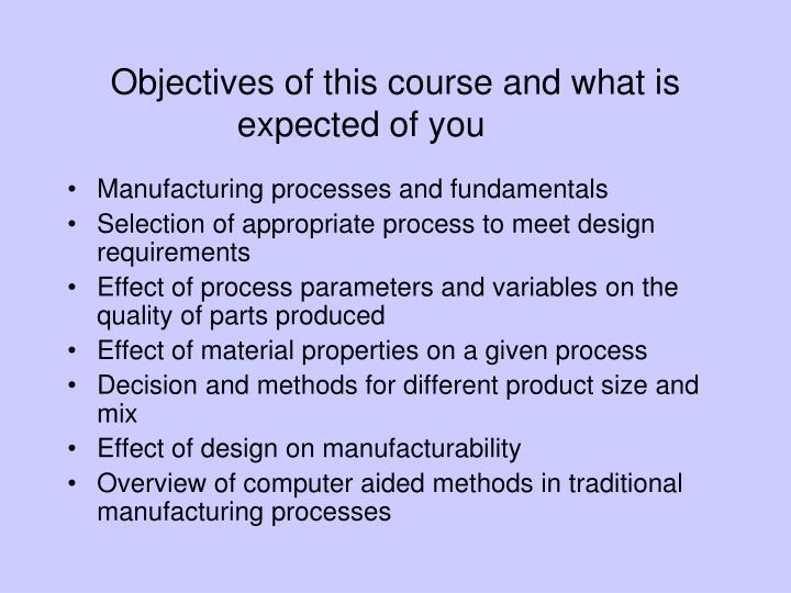 Objectives of this course and what is expected of you