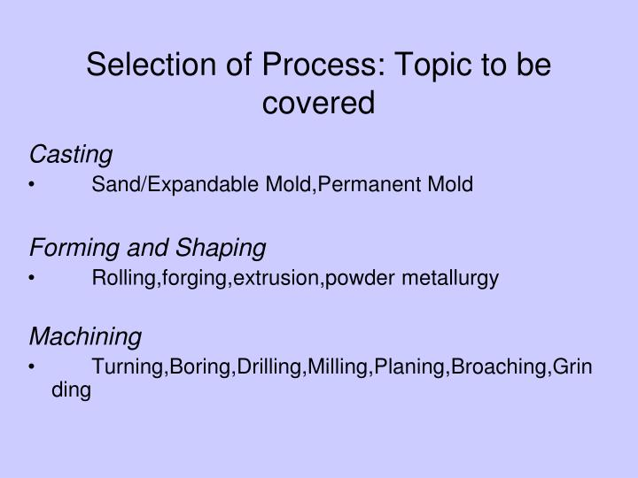 Selection of Process: Topic to be covered