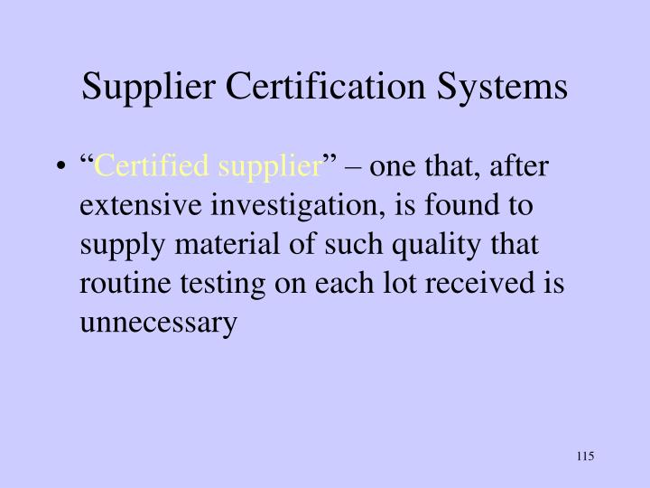 Supplier Certification Systems